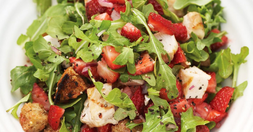 Strawberry Chicken and Arugula Salad