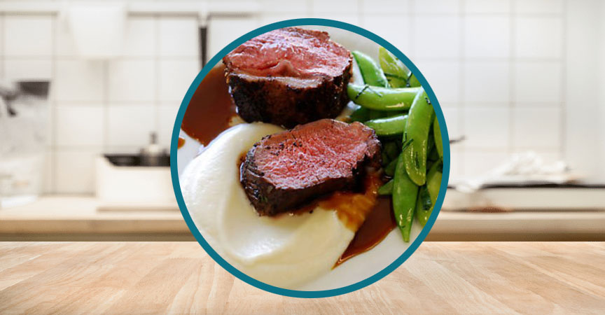 Seared Beef Tenderloin with Truffle Jus and Mashed Cauliflower