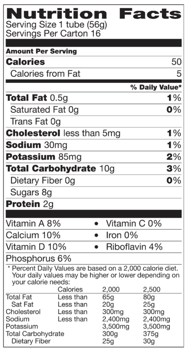 ECW Kids Yogurt Nutrition Label